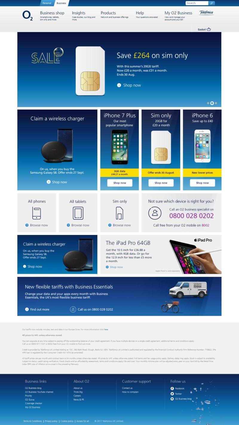 O2 Business online shop