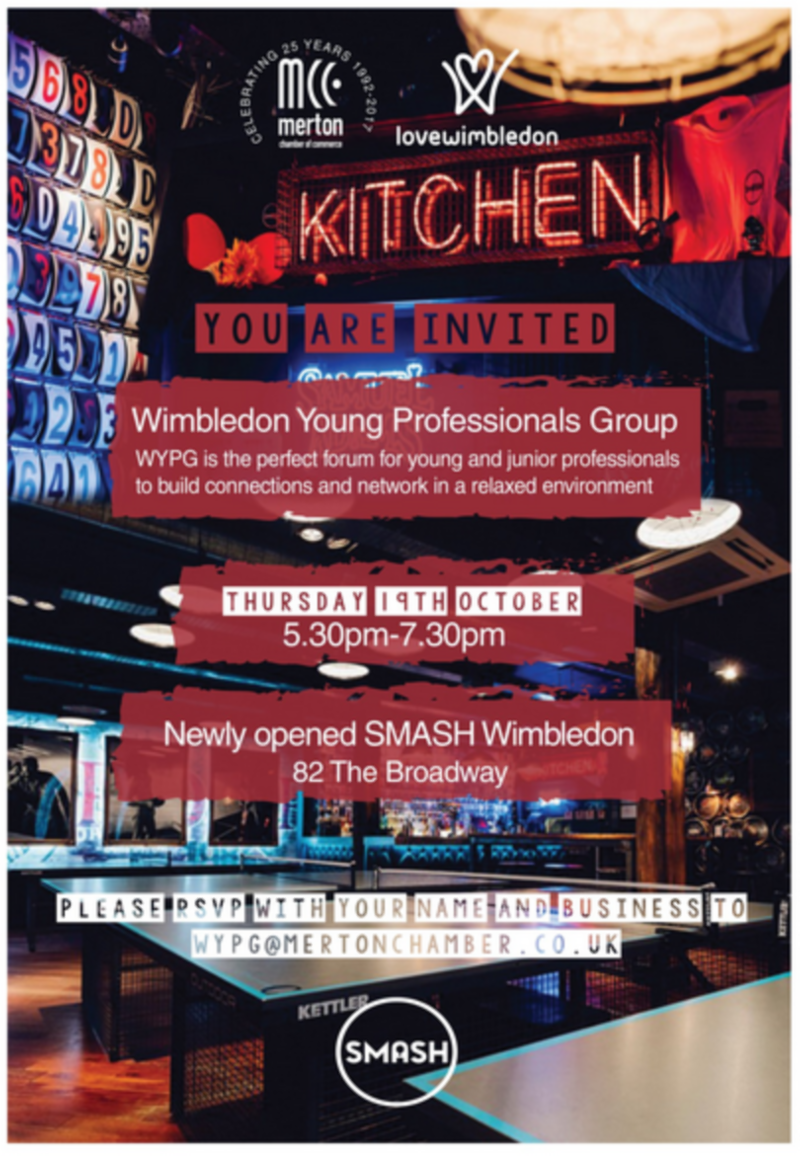 Social media invitation and flyer design for Wimbledon Young Professionals Group event