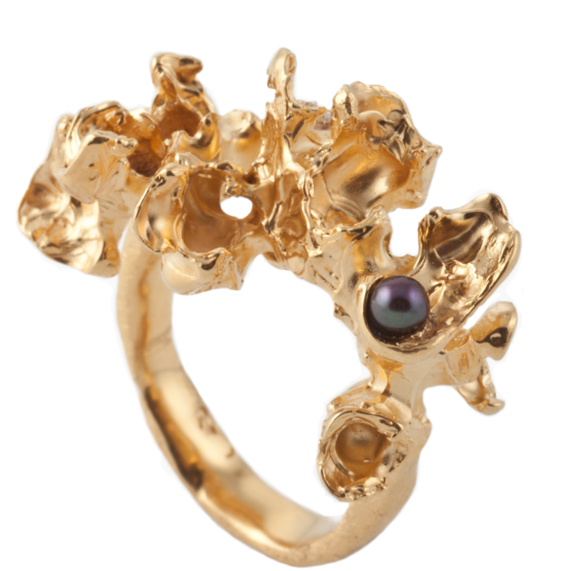 Blossom Gold Pearl Ring