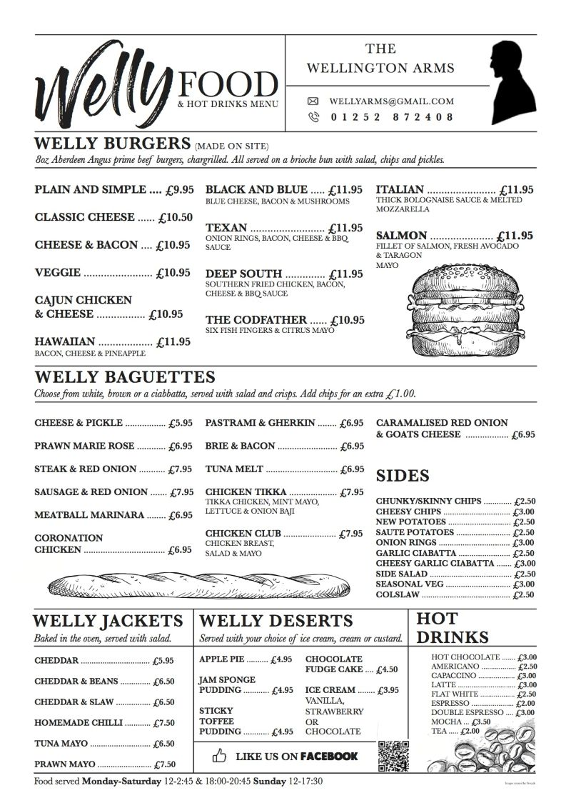 The Wellington Arms Menu Rebranding