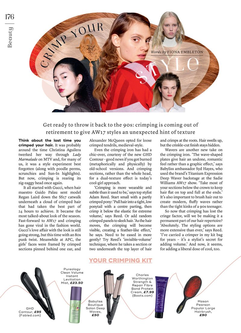 Crimping feature for Marie Claire UK November issue 2017