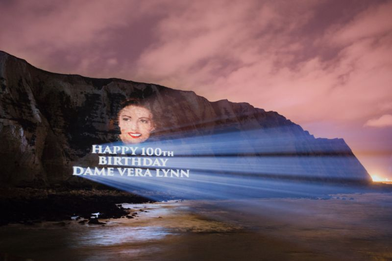 DAME VERA LYNN LIGHTS UP THE WHITE CLIFFS OF DOVER