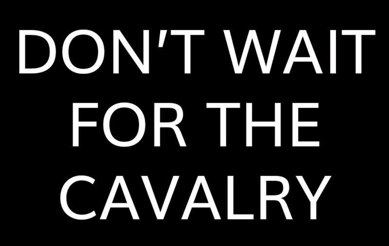 Don't wait for the cavalry