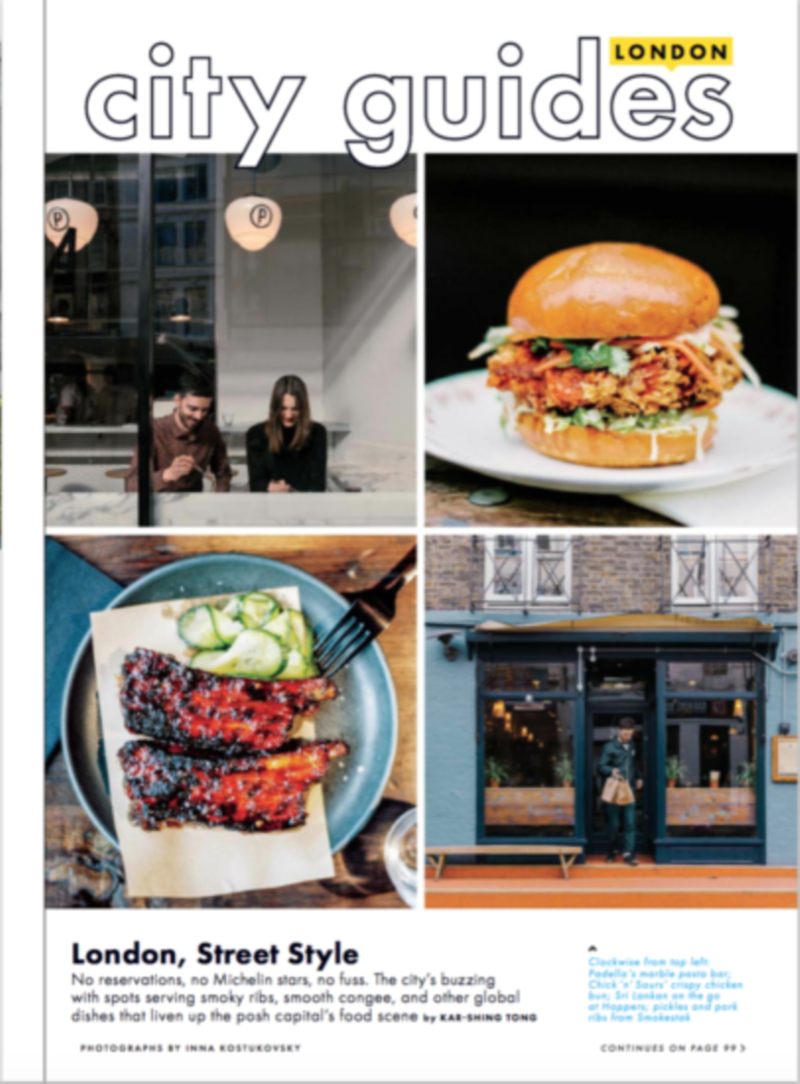 London Restaurant Guide for Conde Nast Bon Appetit - May 2017