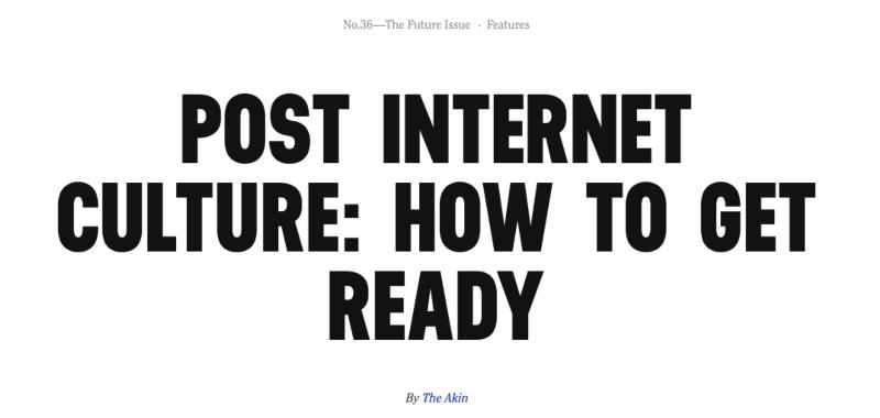 Post Internet Culture:  Opinion Piece