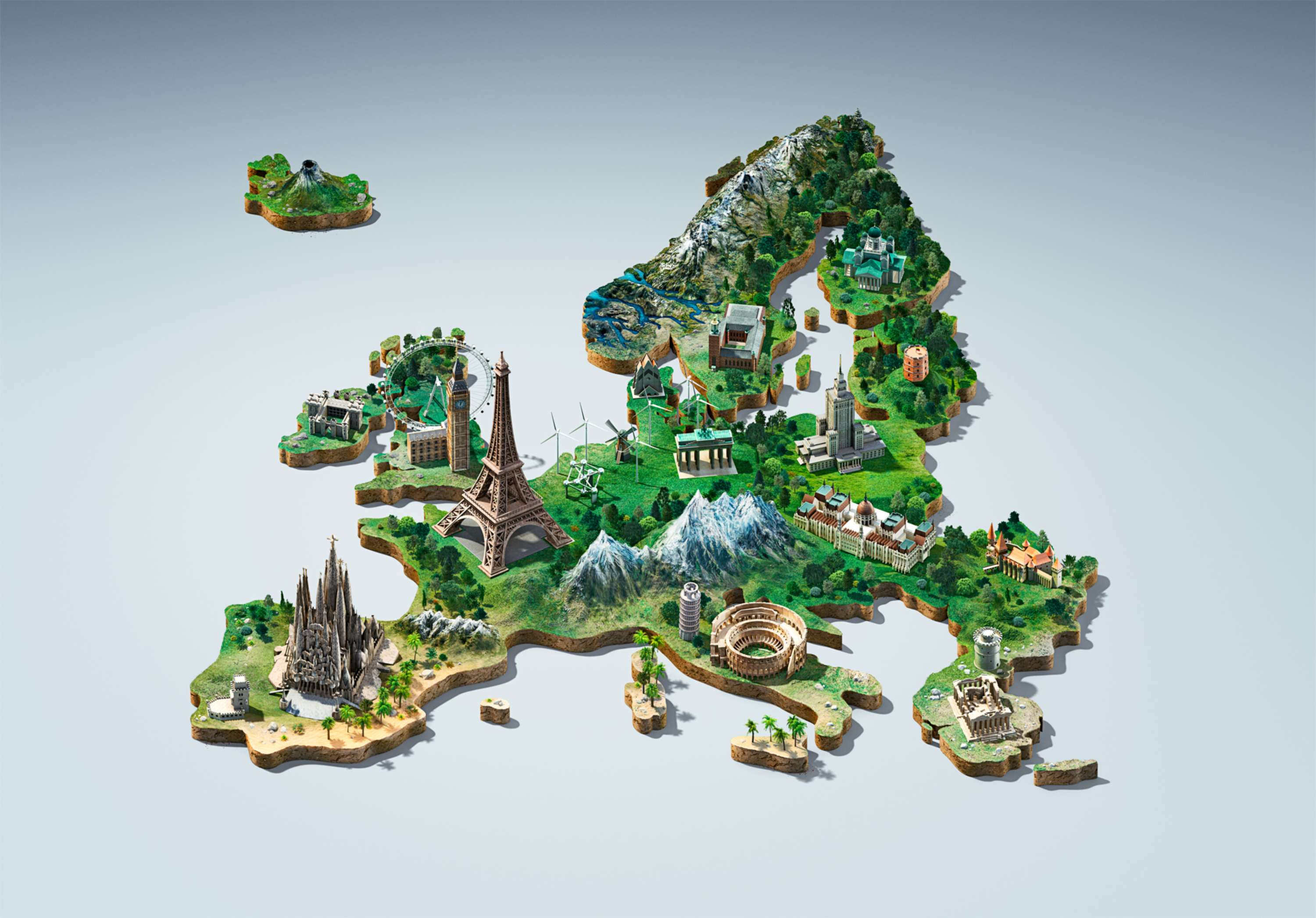 Europe - 3D stylized map key visual | The Dots on