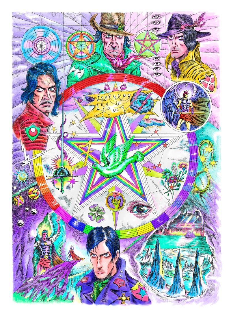 The Magic Circle of Raziel- Mixed media on paper, 70 x 100 cm, 2018