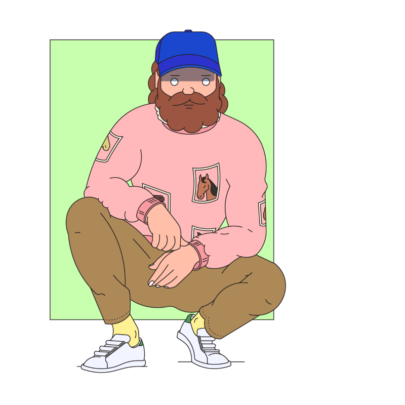 Self portrait with horse jumper