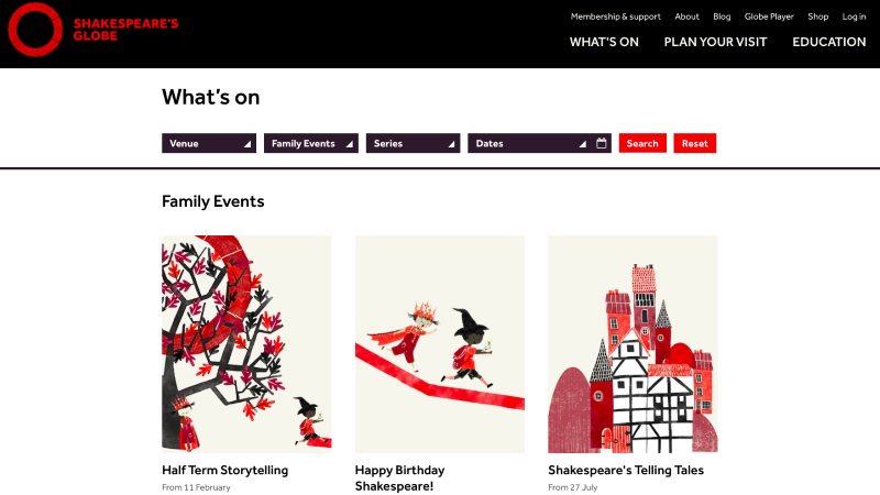 Illustrations for family events at Shakespeare's Globe