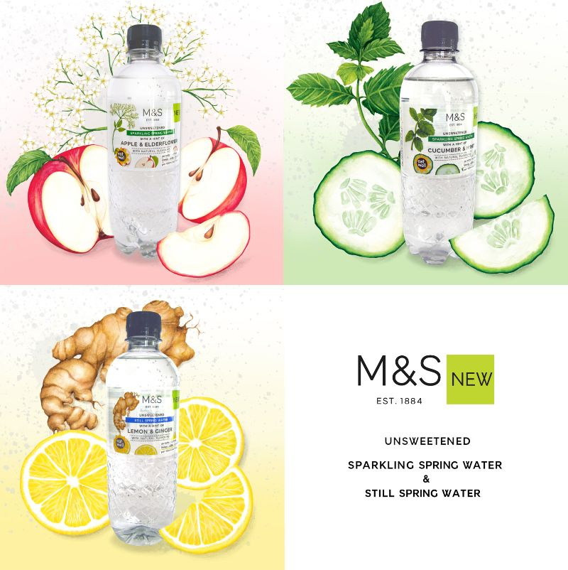 Watercolour illustrations for M&S naturally flavoured waters.