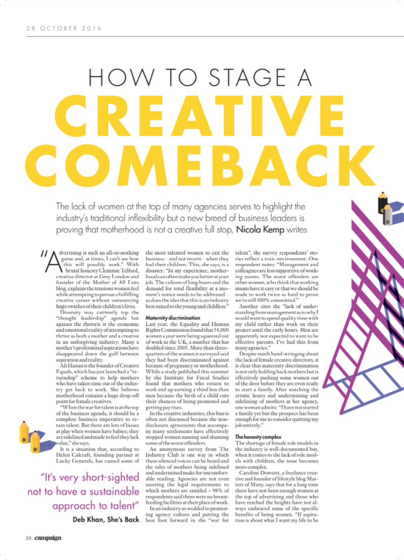 How to stage a creative comeback, Campaign Magazine, October 2016