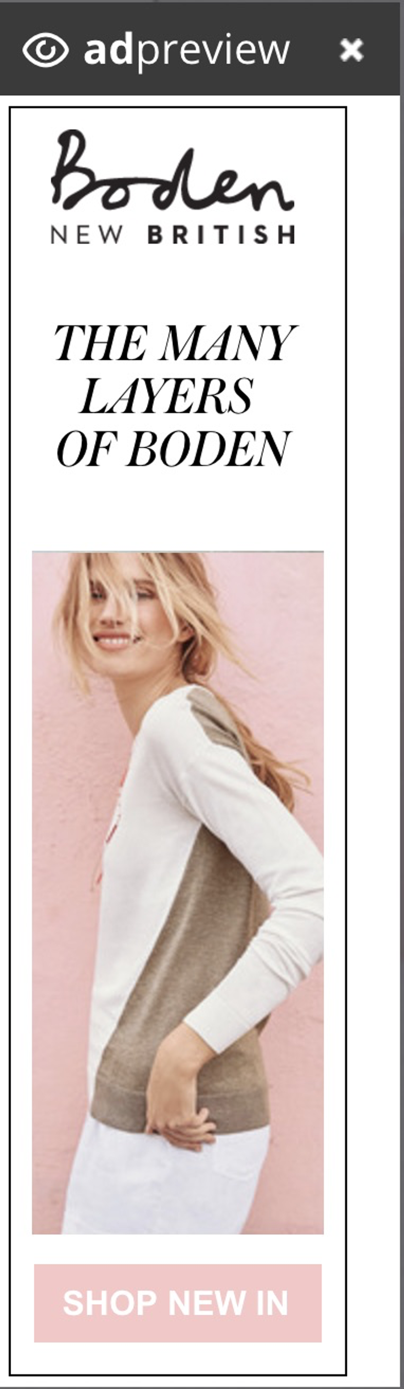 Witty Bitty Boden ads and emails