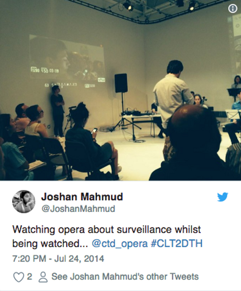 "Live ""surveillance"" visuals for interactive opera performance"