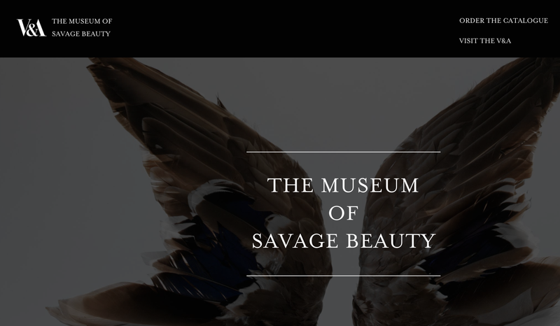 The Museum of Savage Beauty, V&A online