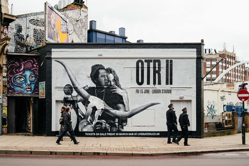 OTR JayZ and Beyonce Hand Painted Advertising