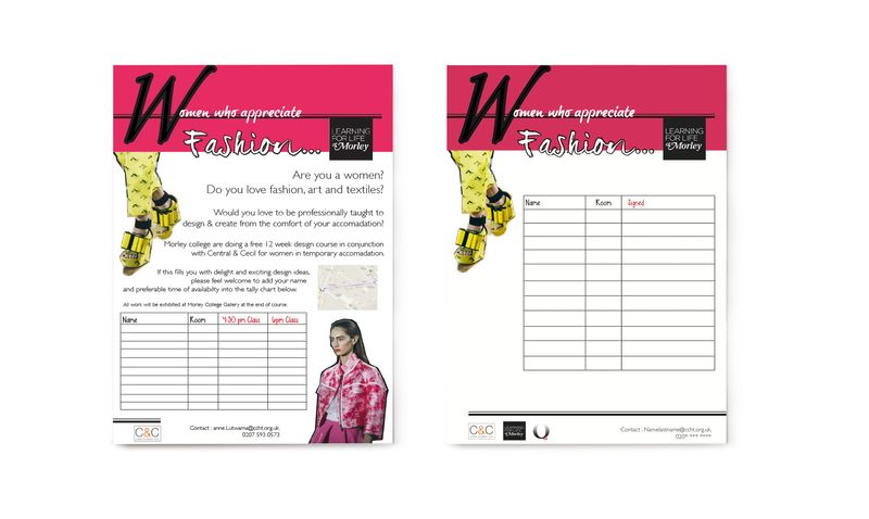 Morley College X C&C – Fashion & Textile Course for Homeless Women