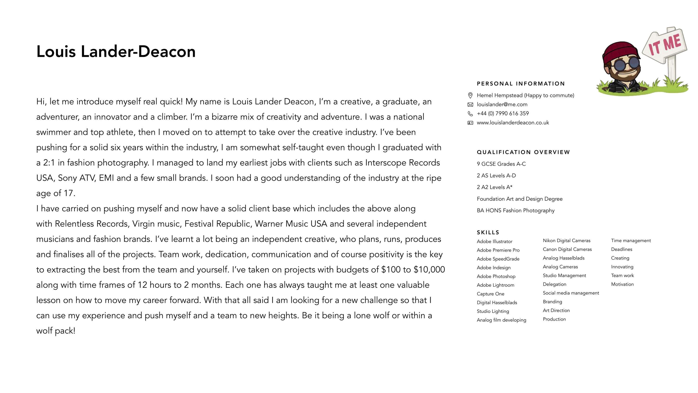 cv brief Louis Lander Deacon Brief CV | The Dots