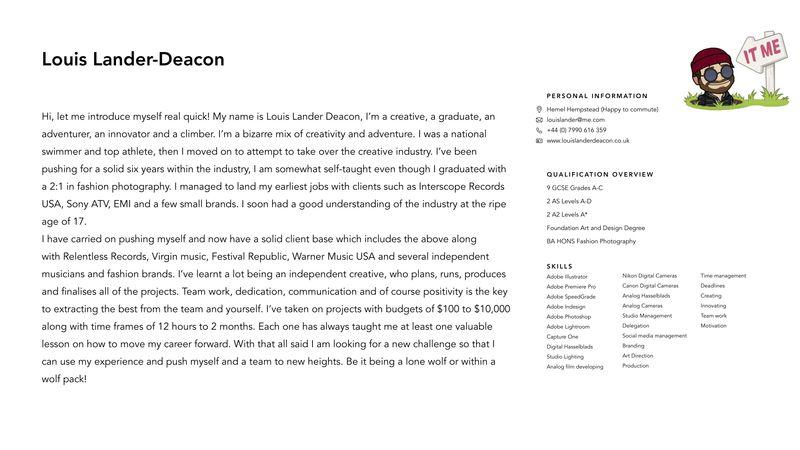 Louis Lander Deacon Brief CV