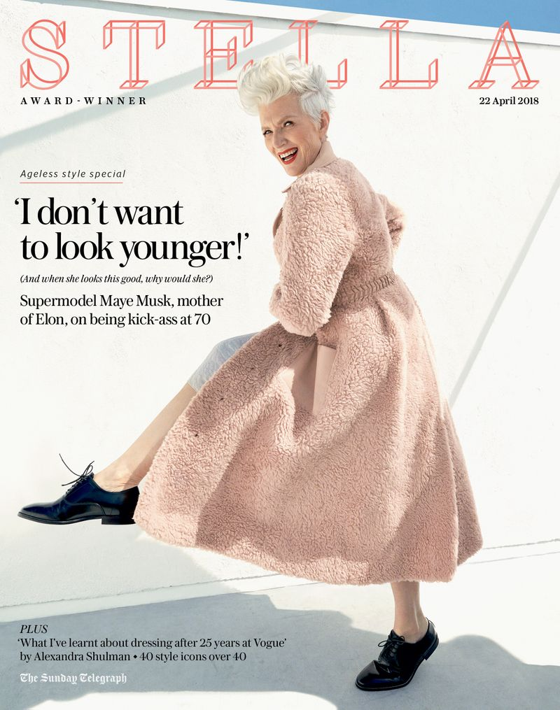 Maye Musk photographed by Coliena Rentmeester for Stella Magazine / Telegraph Media Group