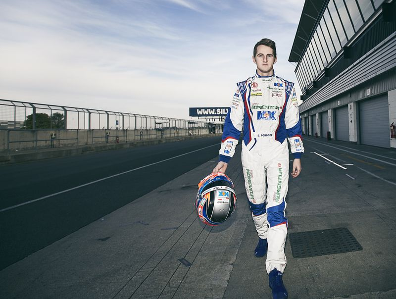 Photograph one of the rising stars in British motorsport at Silverstone race circuit.