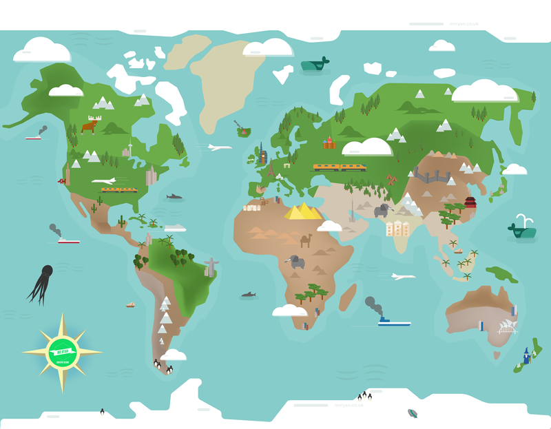 World Map Illustration for Interactive Website