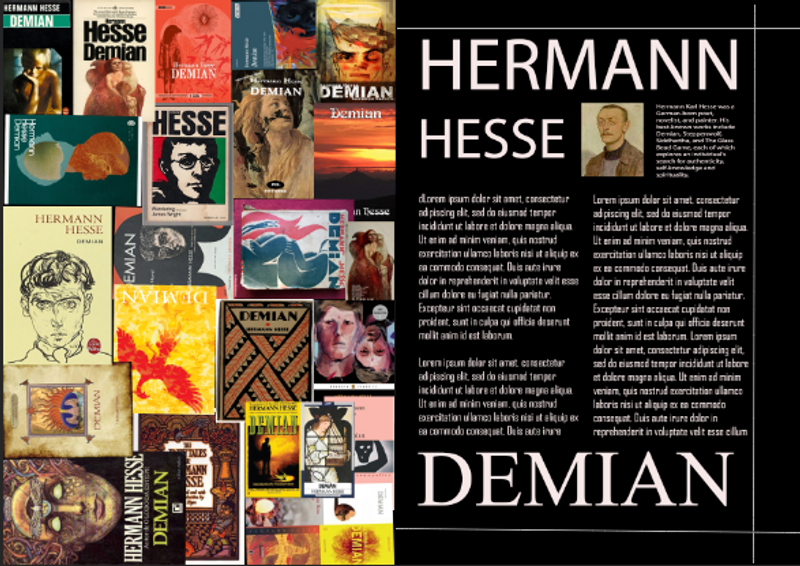 Magazine Layout for Book Review of Demian by Hermann Hesse