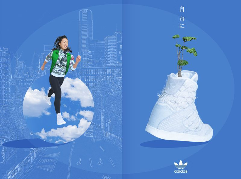 Adidas concept I created on the Mastered with Nick Knight course (this was a brief on the course, not actually created for Adidas) The kanji says 'be free'