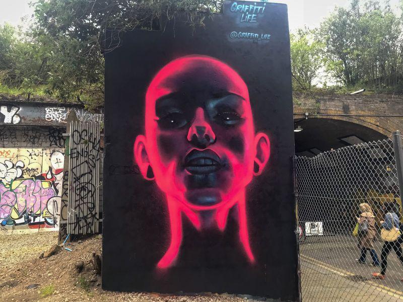 Neon Graffiti Portrait, Shoreditch