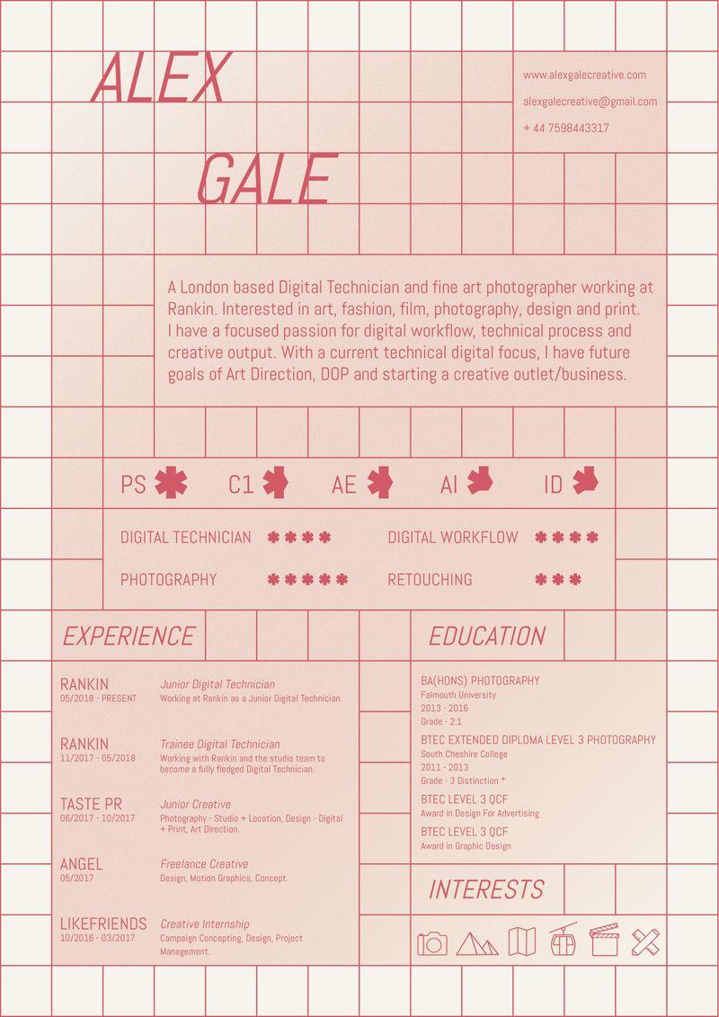 Alex Gale - Digital Technician CV