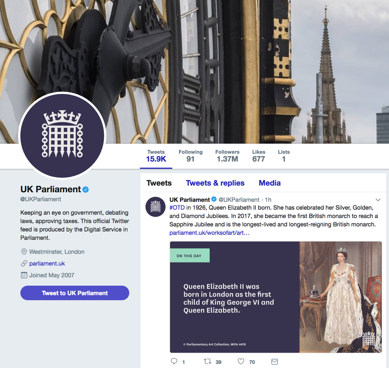UK Parliament social media branding