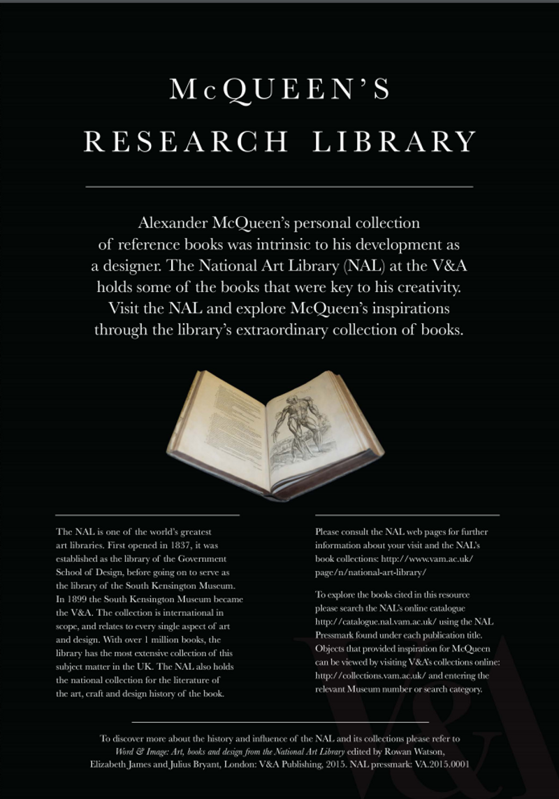 McQueen's Research Library, V&A online