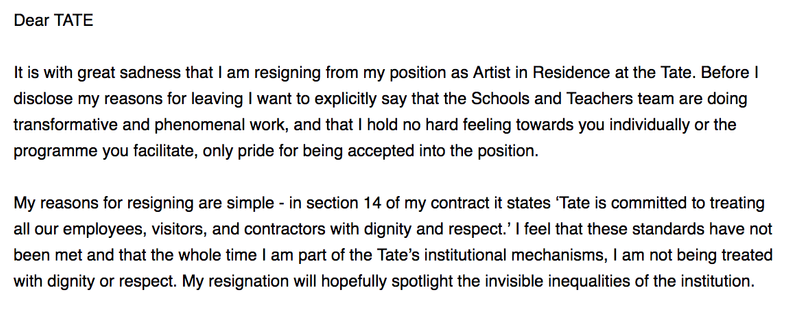 Resignation from TATE