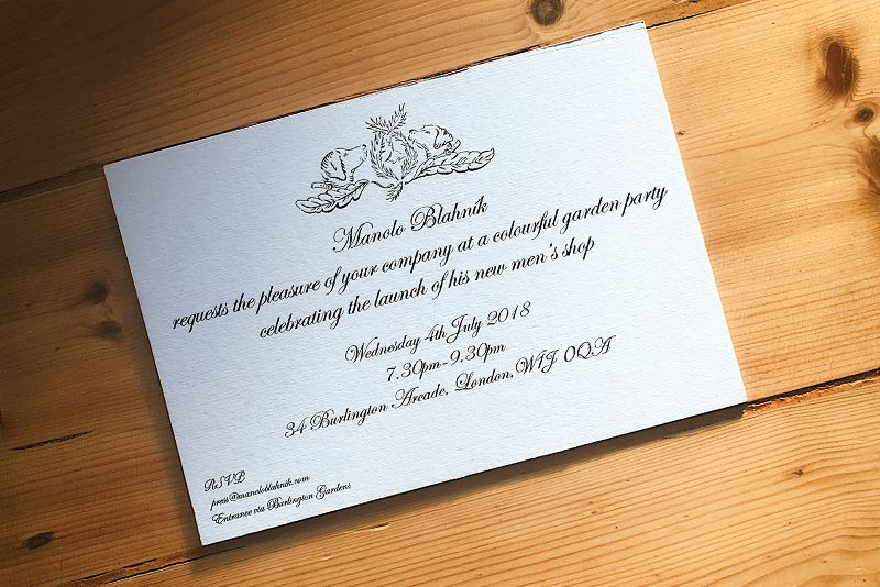 MANOLO BLAHNIK: Garden Party Invitation