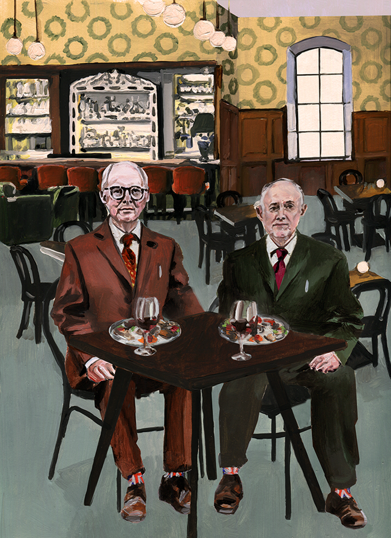 Alice Tye paints Gilbert and George for It's Nice That's Printed Pages.