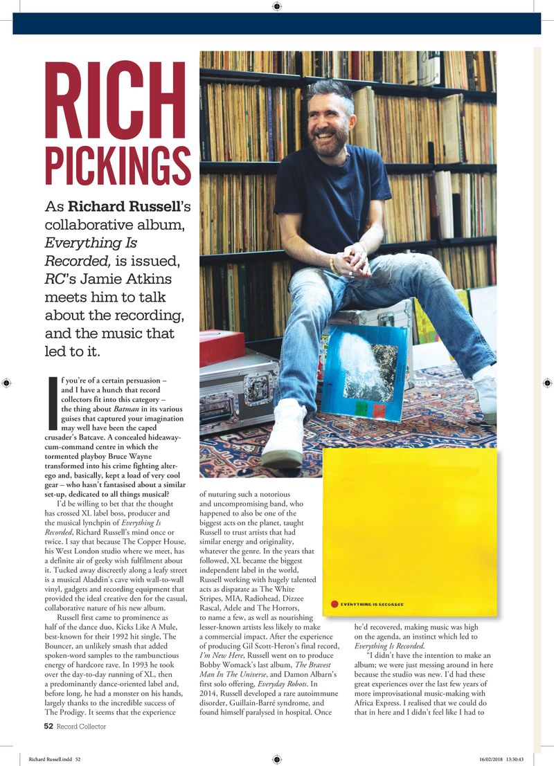 Richard Russell interview, Record Collector, March 2018
