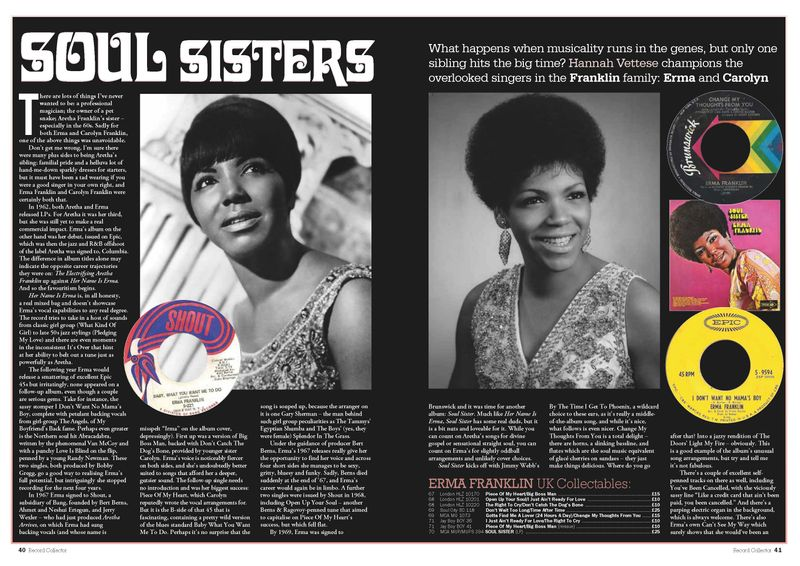 SOUL SISTERS: Erma and Carolyn Franklin