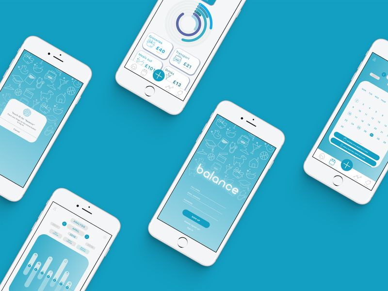 Balance. App Design. Designed with the intention of helping impulsive buyers to track their budgets.