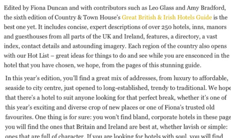 Great British & Irish Hotels Guide 2018/19 introduction for Country & Town House Magazine