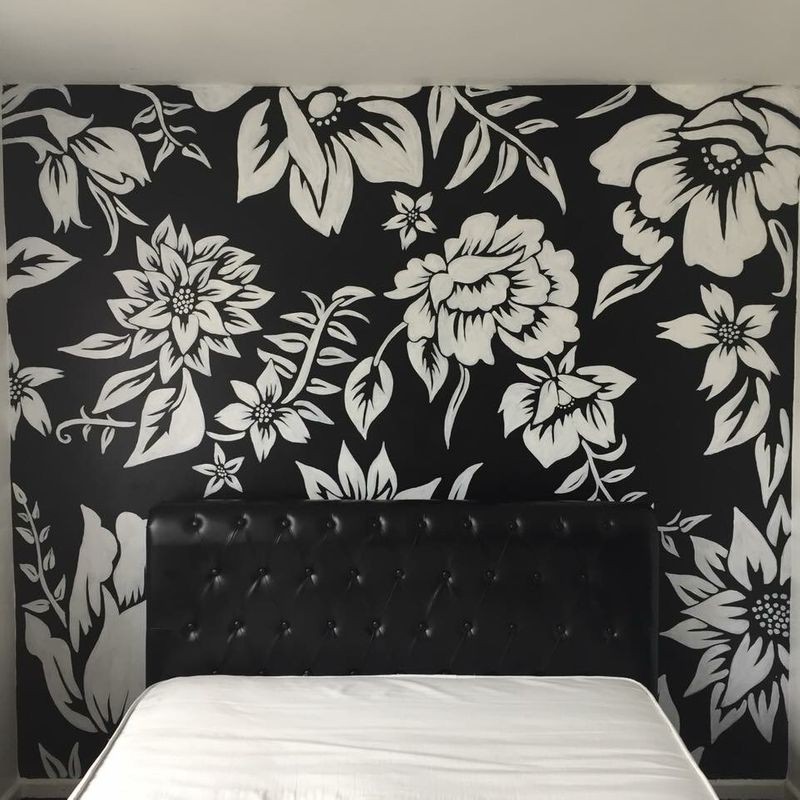 Monochrome floral mural