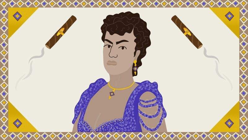 The Cigar-Loving Cuban-American Who Charmed Her Way Into the Aristocracy | Vice | Broadly | Erin Aniker Illustration