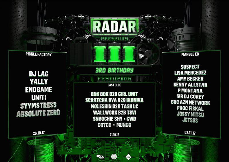 Radar 3rd Birthday - 3 Events