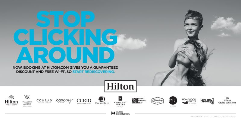 Hilton Hotels creative artwork for online and print