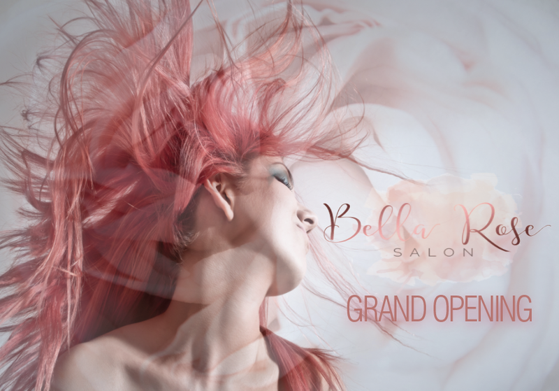 Grand opening flyer for a new hair salon - front