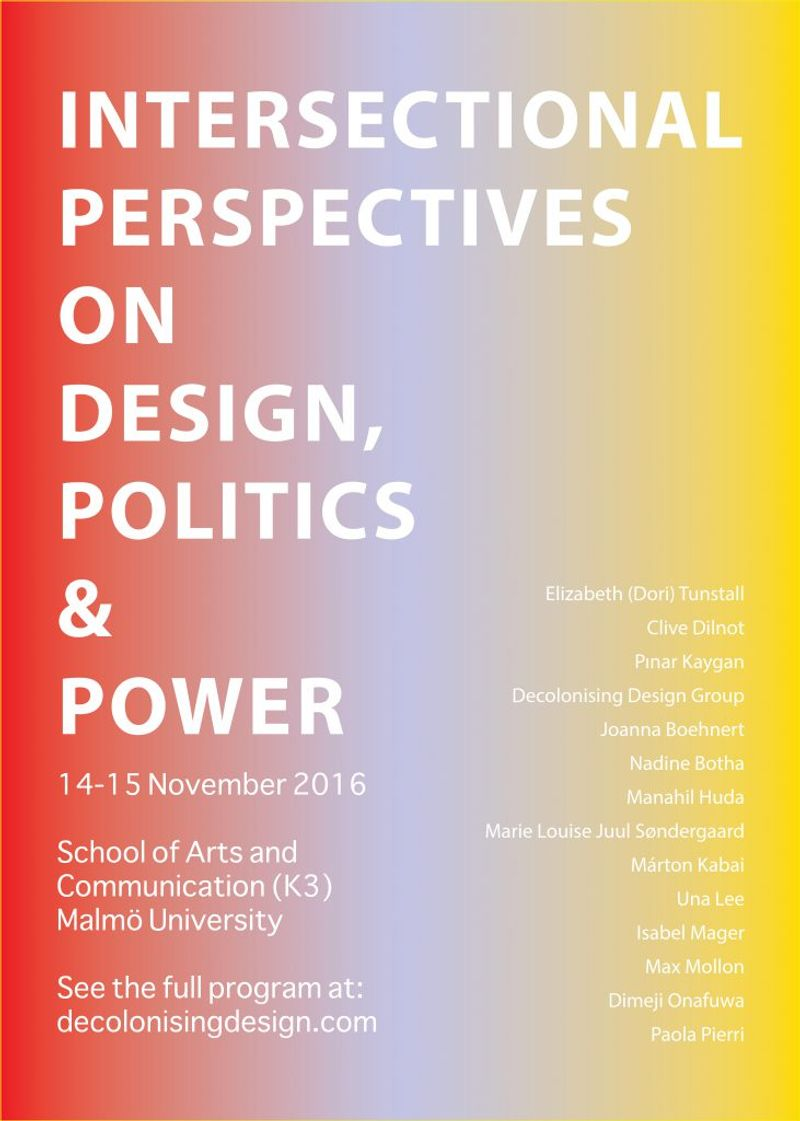 Intersectional Perspectives on Design, Politics and Power : Symposium Programme
