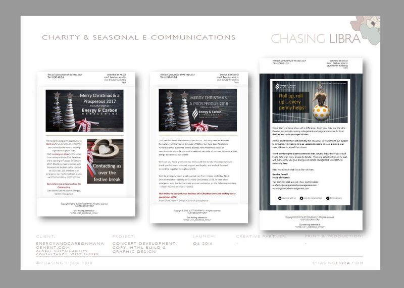 Charity & Christmas E-Communications | Content development, graphic design & production