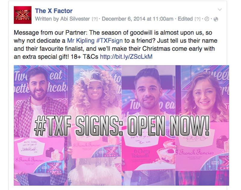 The X Factor / Mr Kipling: #TXFsign social activation