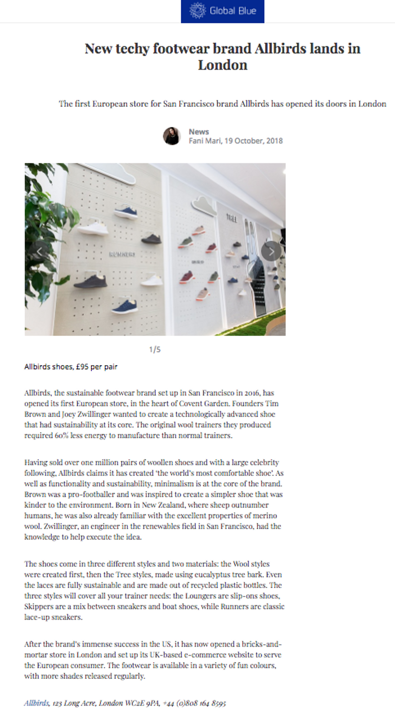 News London - Allbirds first UK store