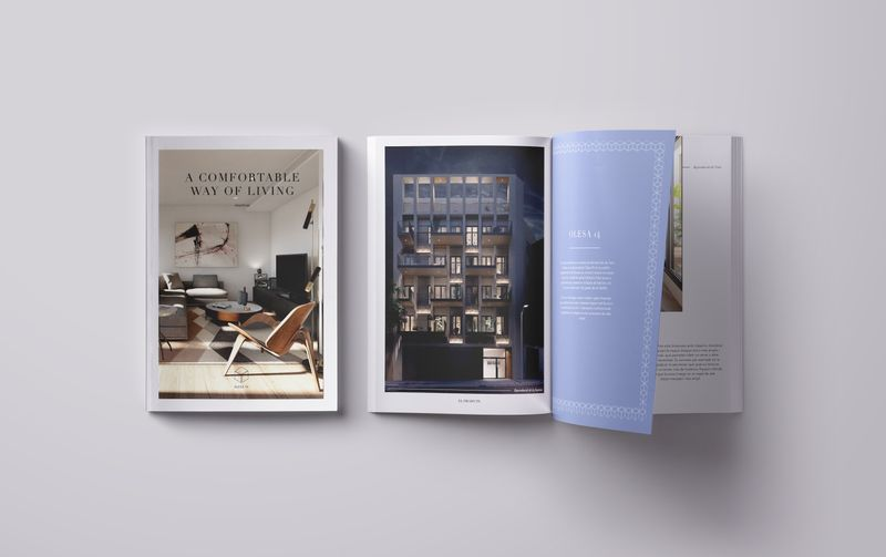 Visual identity and graphic design for a new apartments' brochure.
