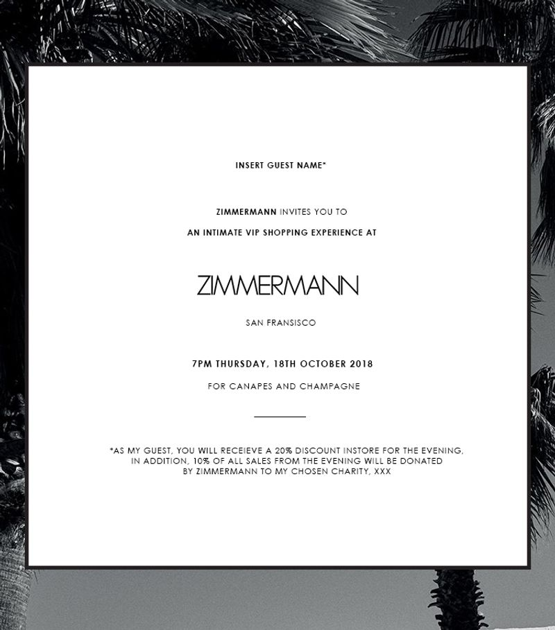 Zimmermann E-Invites for IN-STORE events