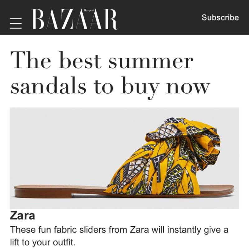Shoes designed for Zara SS18 featured on Harper's Bazaar